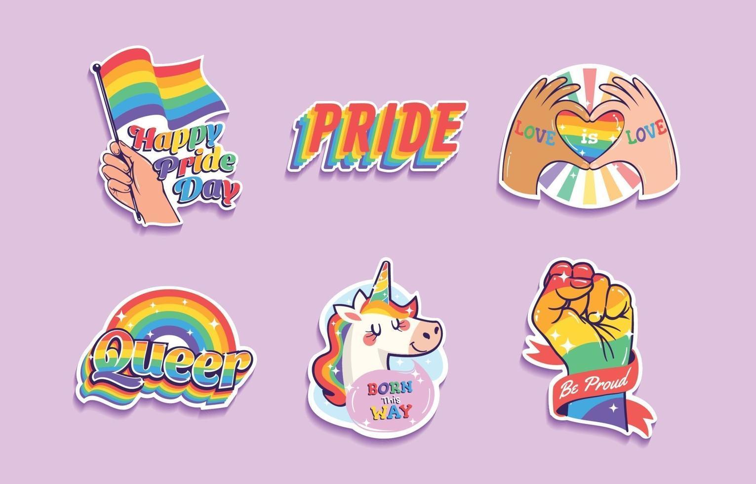 LGBTQ Pride Stickers Collection vector