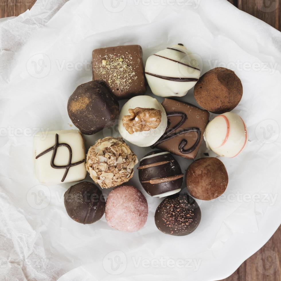 top view chocolate selection plate. High quality and resolution beautiful photo concept