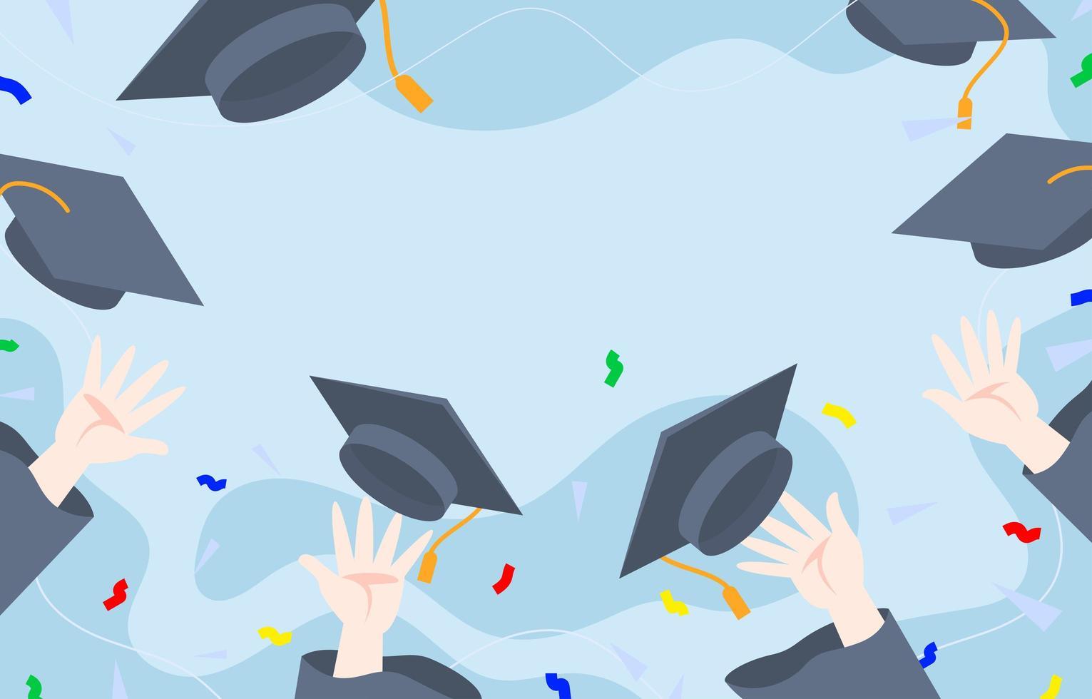 diseño de fondo plano de sombrero de graduación vector
