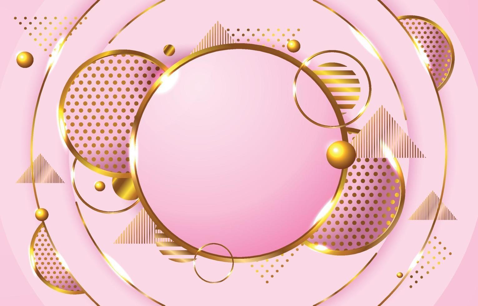 fondo rosa de lujo con círculo dorado vector