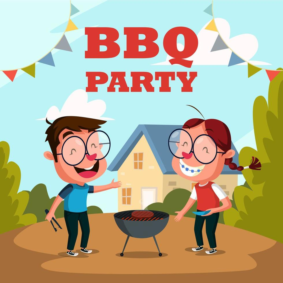 Boy and Girl Grilling and Barbecue Party Outdoor Activity vector
