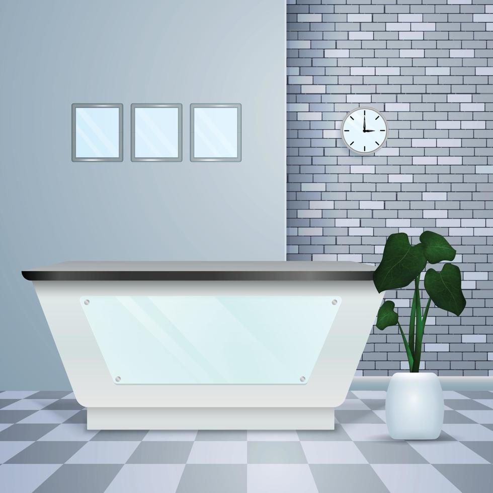 Clinic Reception Realistic Modern Interior Vector Illustration