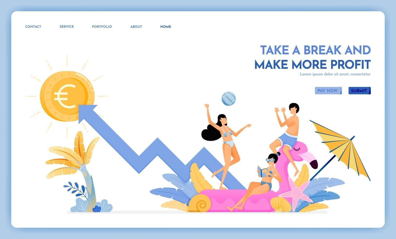 travel website with theme of take a break and make more profit enjoy traveling and vacationing to support growth Vector design can be used for poster banner ads website web marketing flyer