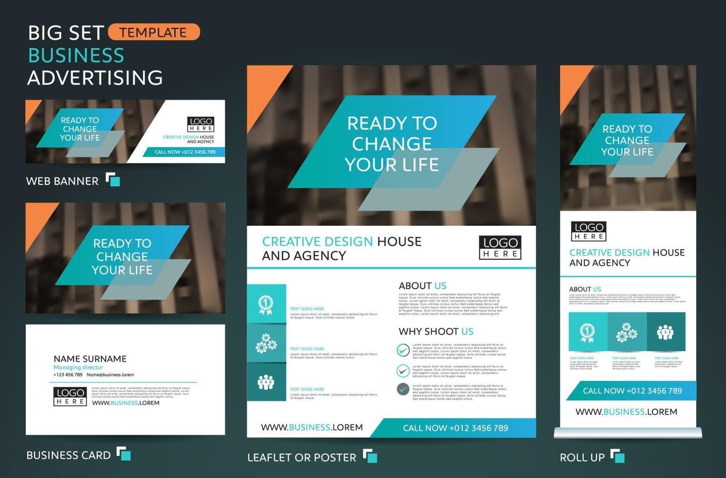 big set template for business advertising.Brochure,leaflet template.Cover book presentation portfolio. vector