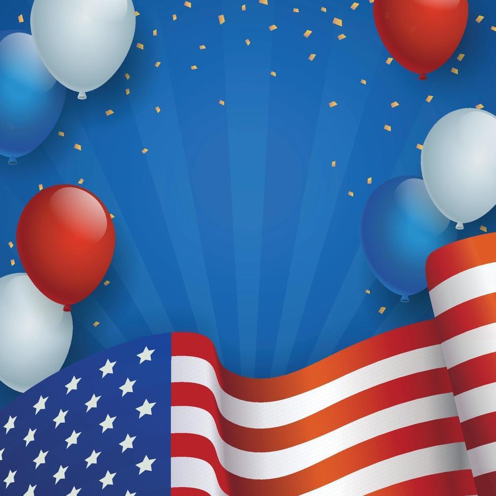 Fondo del día de la independencia de Estados Unidos con globo y bandera vector