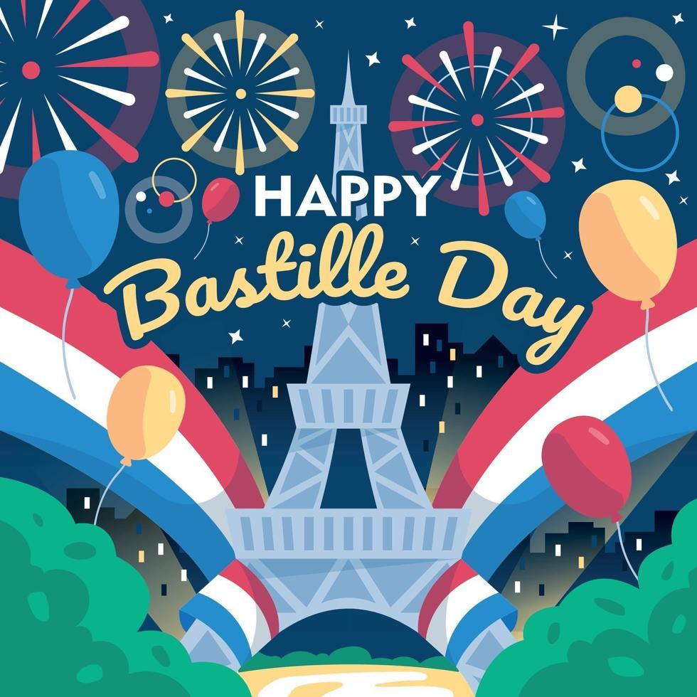noche de celebración del día de la bastilla en francia vector