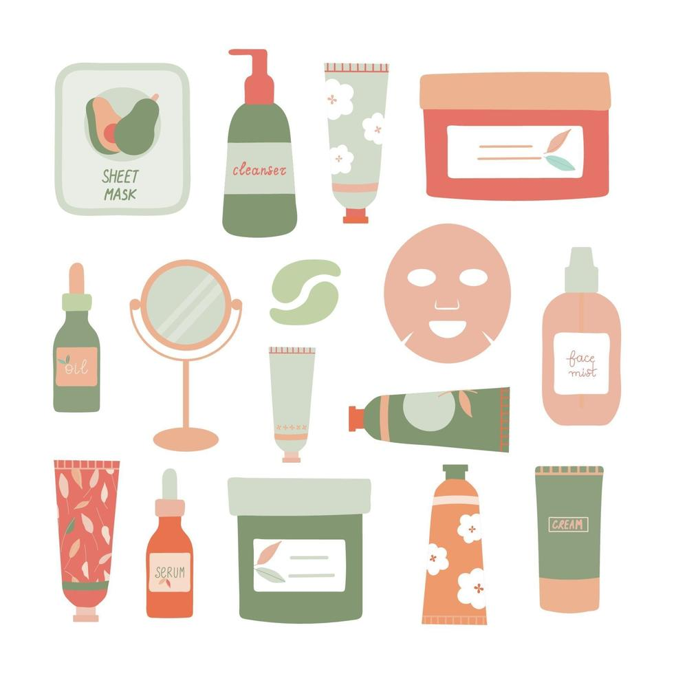 Set of Skincare Products Flat Vector Illustration