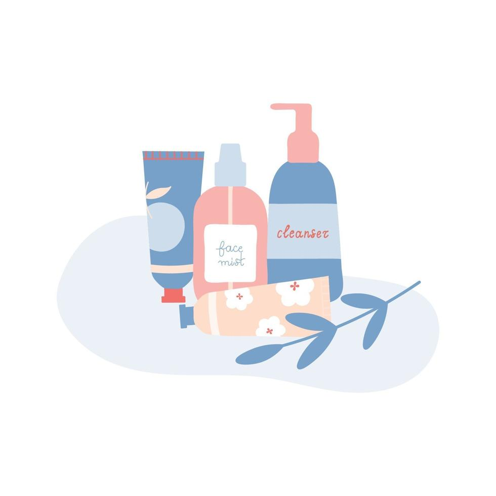 Composition with Leaf and Organic Cosmetic Products Flat Illustration vector