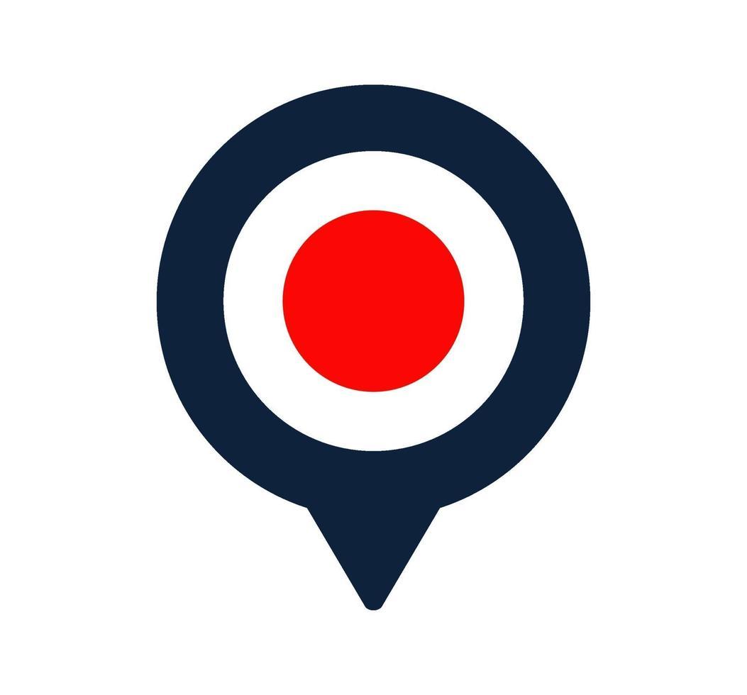 icono de puntero de bandera y mapa de Japón. diseño de vector de icono de ubicación de bandera nacional, pin de localizador gps. ilustración vectorial