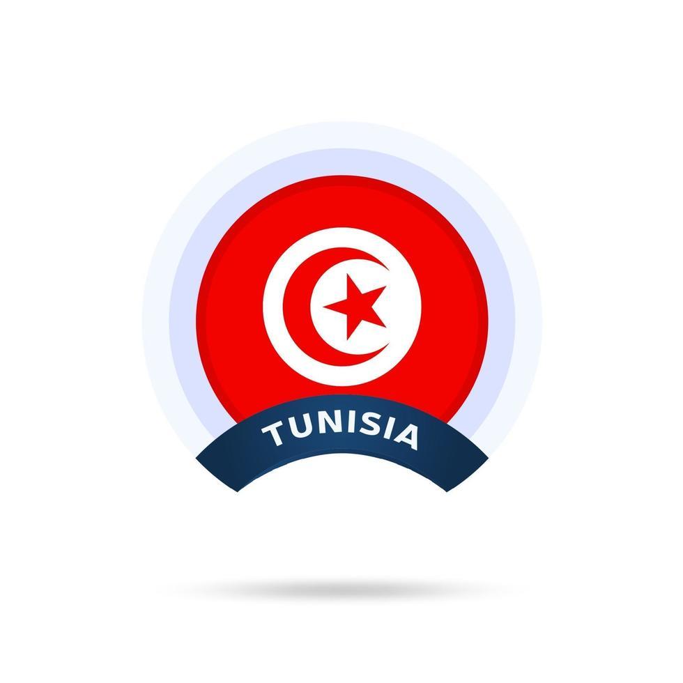 Icono de botón de círculo de bandera nacional de Túnez. bandera simple, colores oficiales y proporción correcta. ilustración vectorial plana. vector