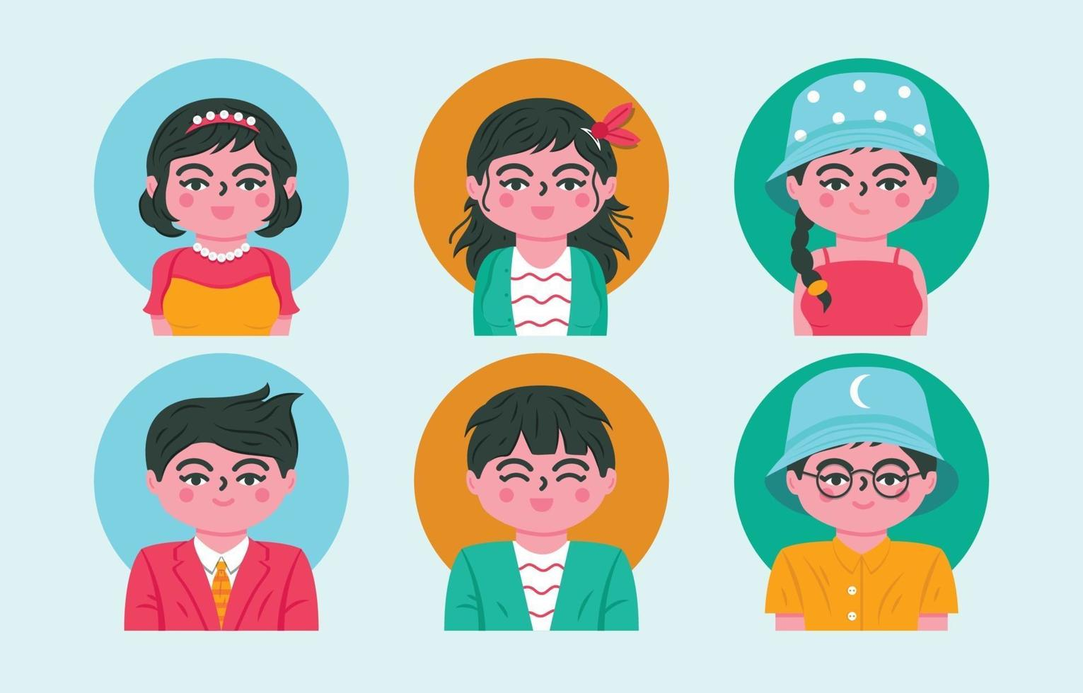Couple People Avatar Icons Set vector