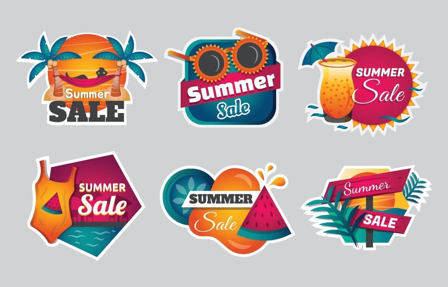 Summer Sale Sticker Template Set vector