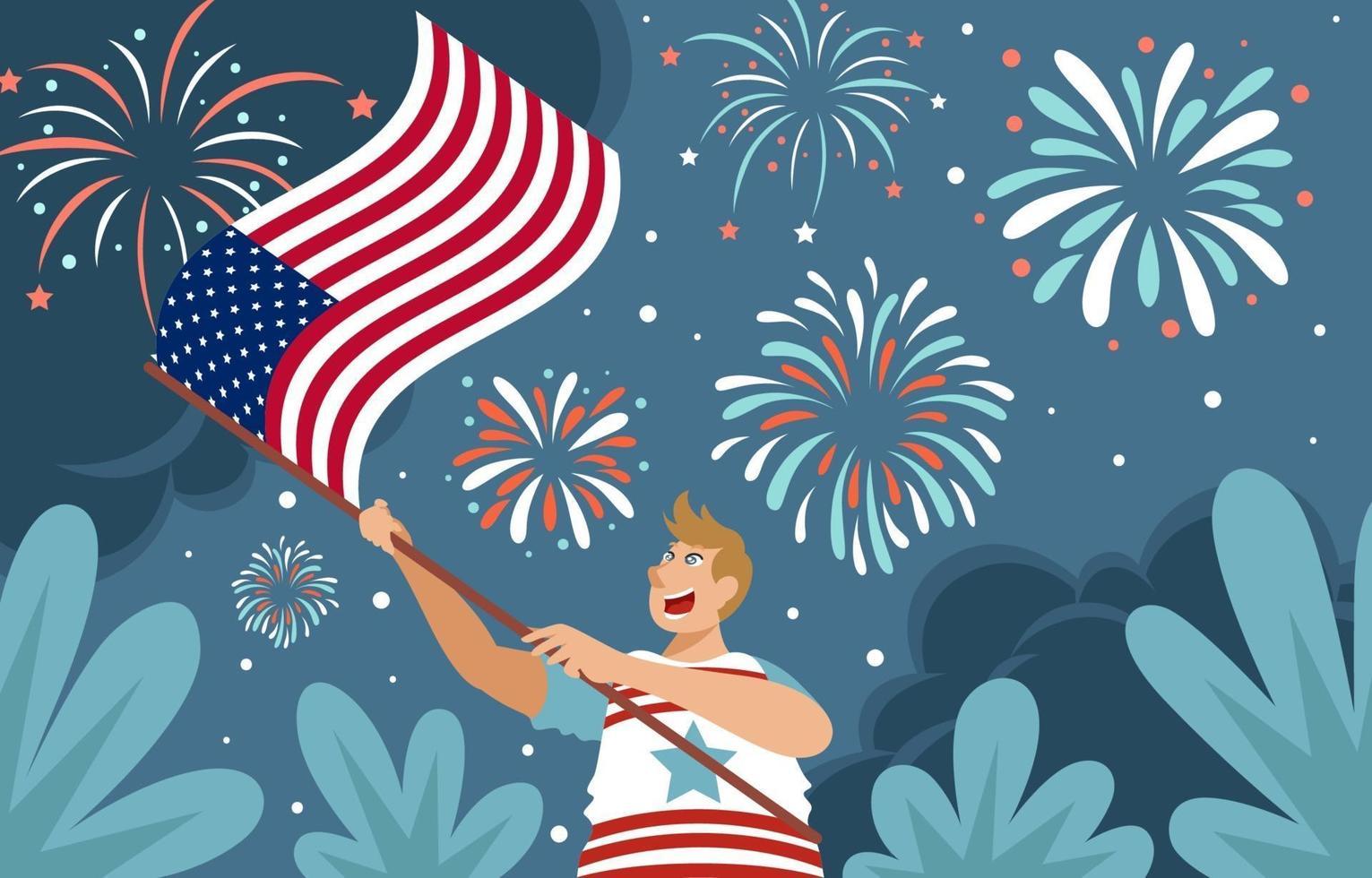 Diseño de ilustración de la bandera americana del cuatro de julio vector