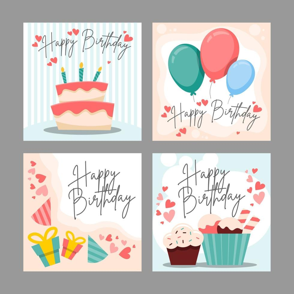 Happy Birthday Celebration Card Set vector