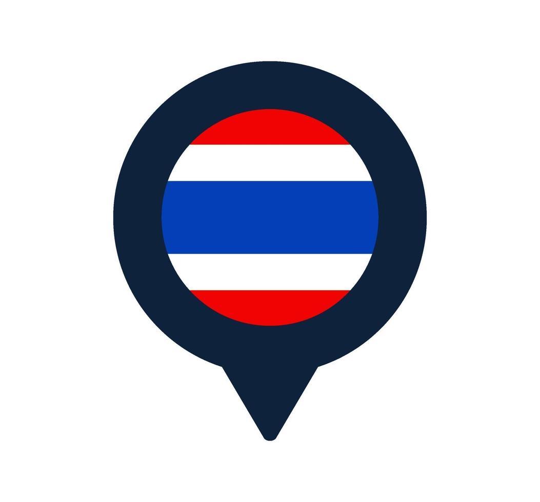 bandera de tailandia y el icono de puntero del mapa. diseño de vector de icono de ubicación de bandera nacional, pin de localizador gps. ilustración vectorial