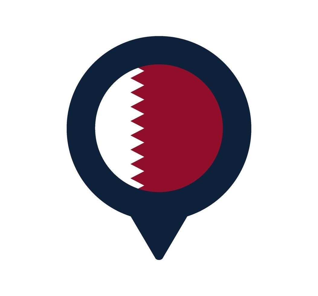 bandera de qatar y el icono de puntero del mapa. diseño de vector de icono de ubicación de bandera nacional, pin de localizador gps. ilustración vectorial