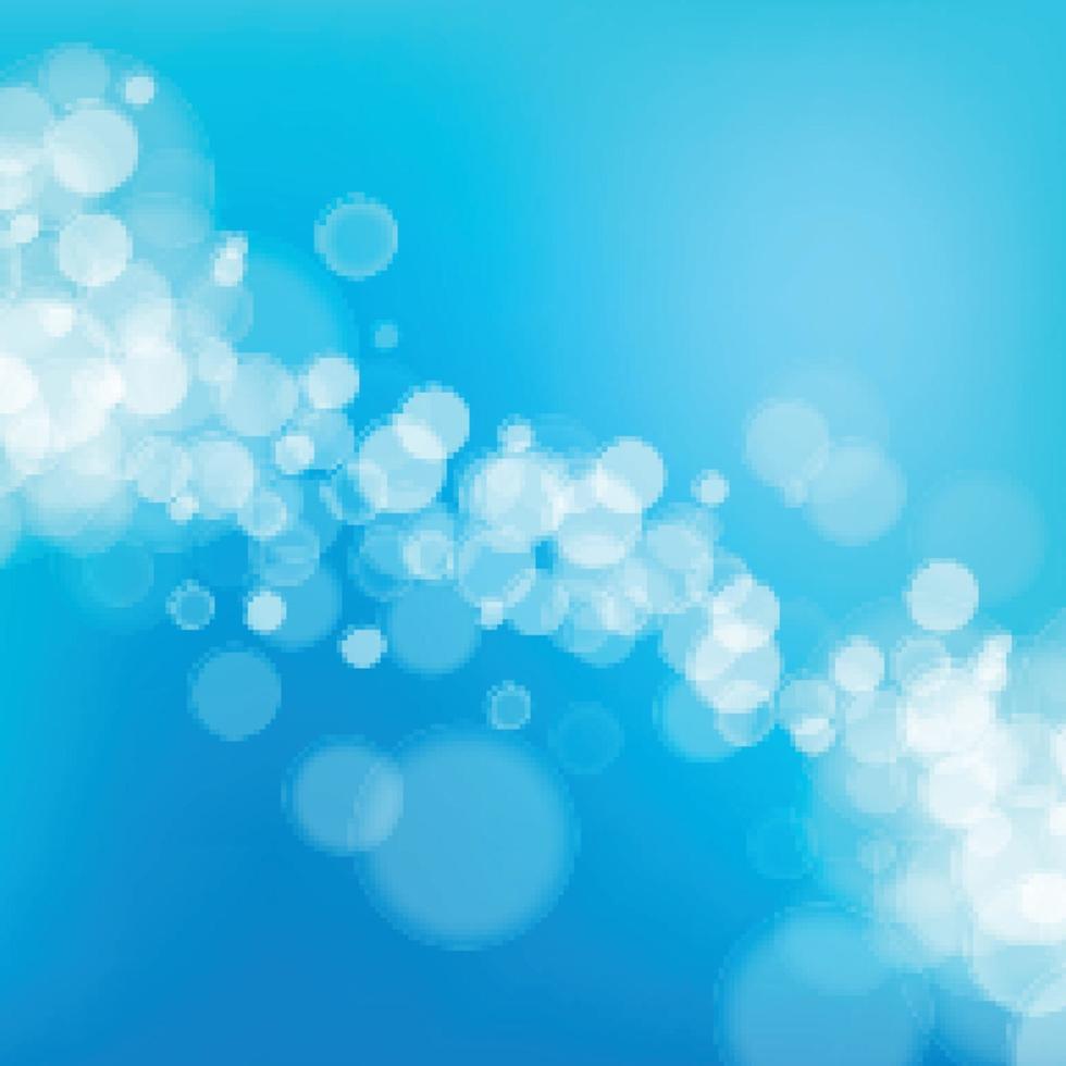 Bokeh borroso blanco sobre fondo azul. vector