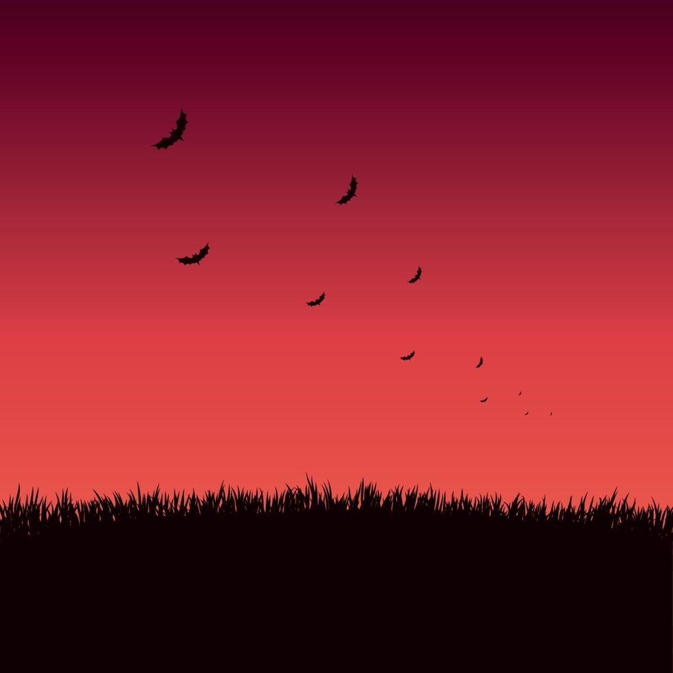 muchos murciélagos en un atardecer rojo brillante vector