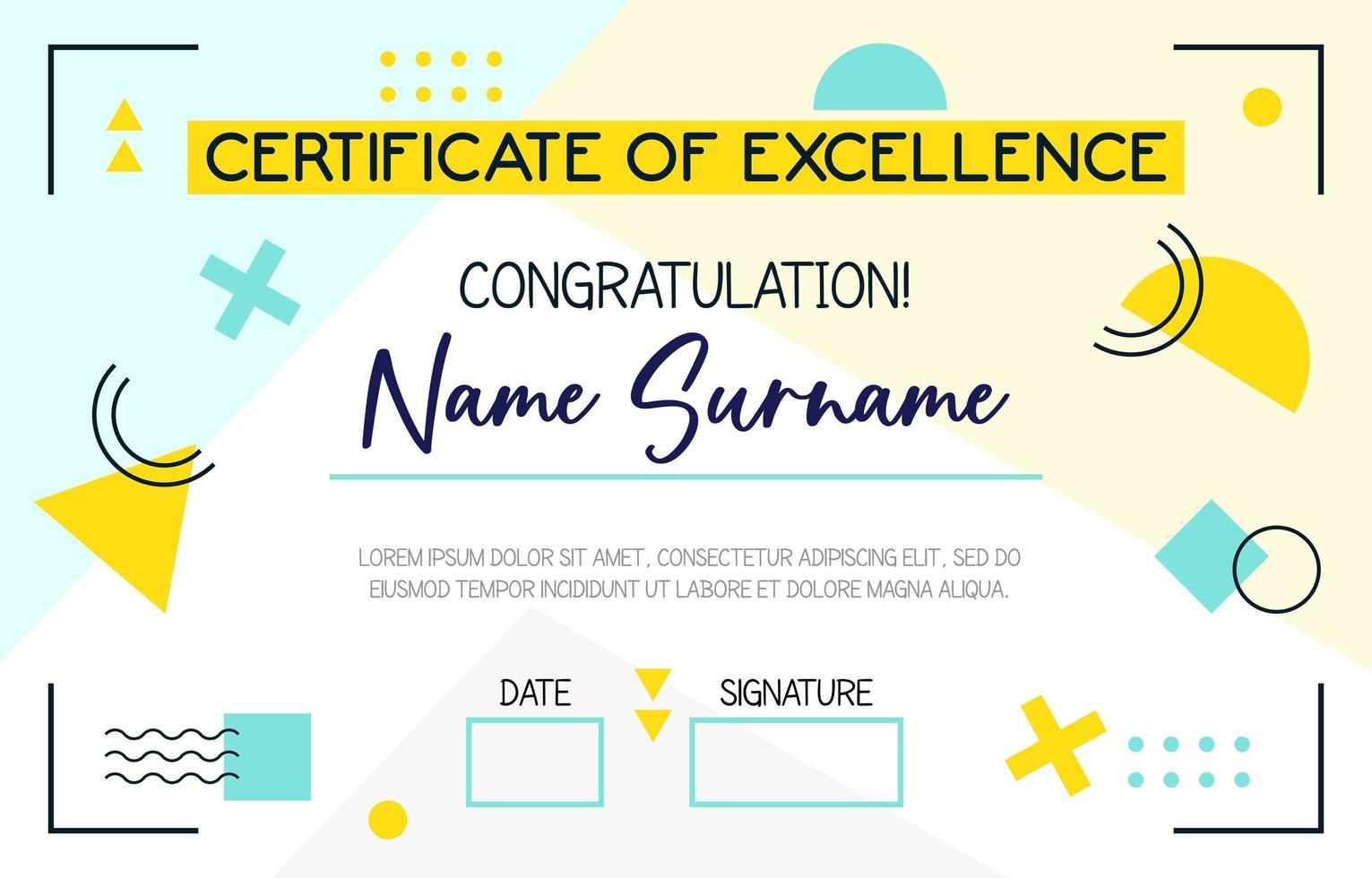 certificado de diversión escolar vector