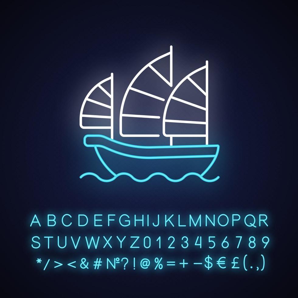 icono de luz de neón de barco chatarra vector