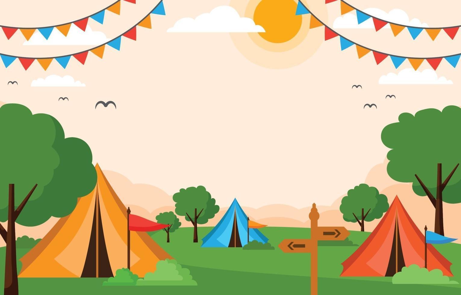 fondo de camping de verano plano vector