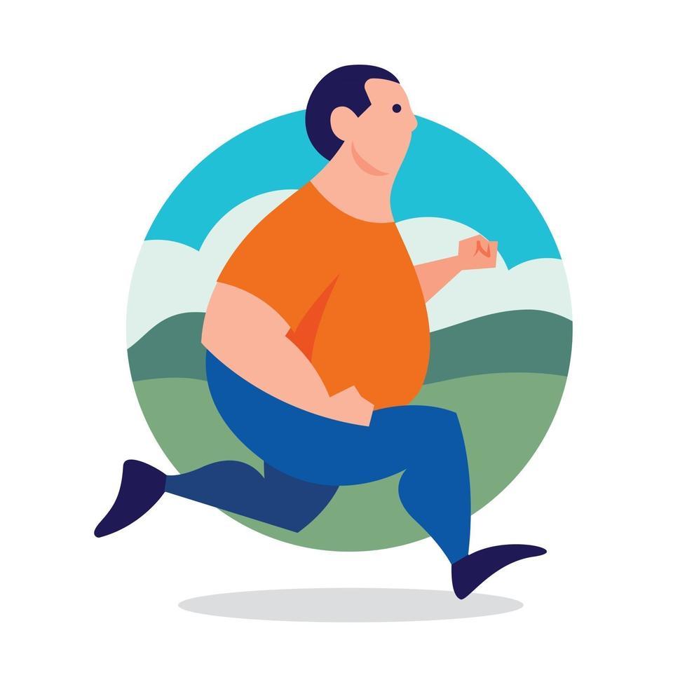 Hombre gordito trotar para un estilo de vida saludable vector