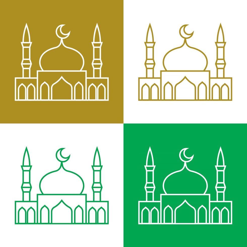 mezquita, simple, vector, iconos, conjunto vector