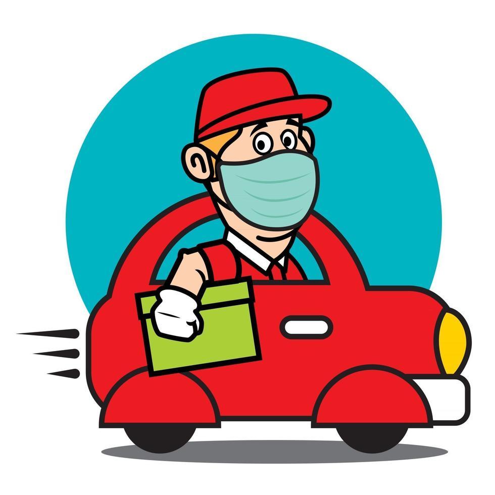 El repartidor lleva una mascarilla protegida conduciendo un mini coche rojo para entregar el paquete con velocidad durante la pandemia vector