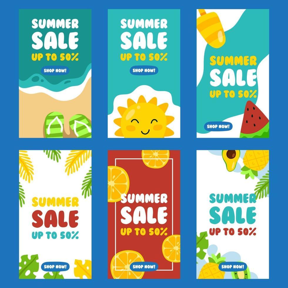 publicación de redes sociales de ambiente de verano vector