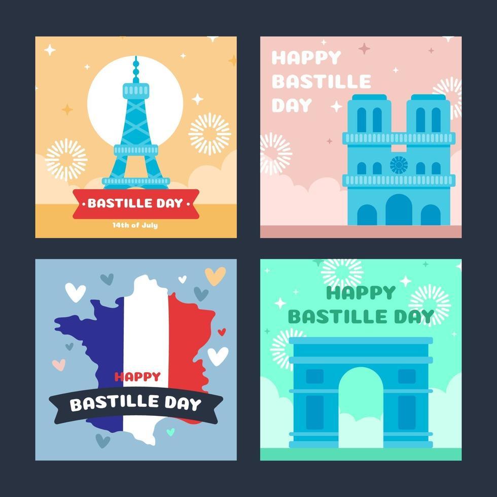 paquete de tarjetas del día de la bastilla vector