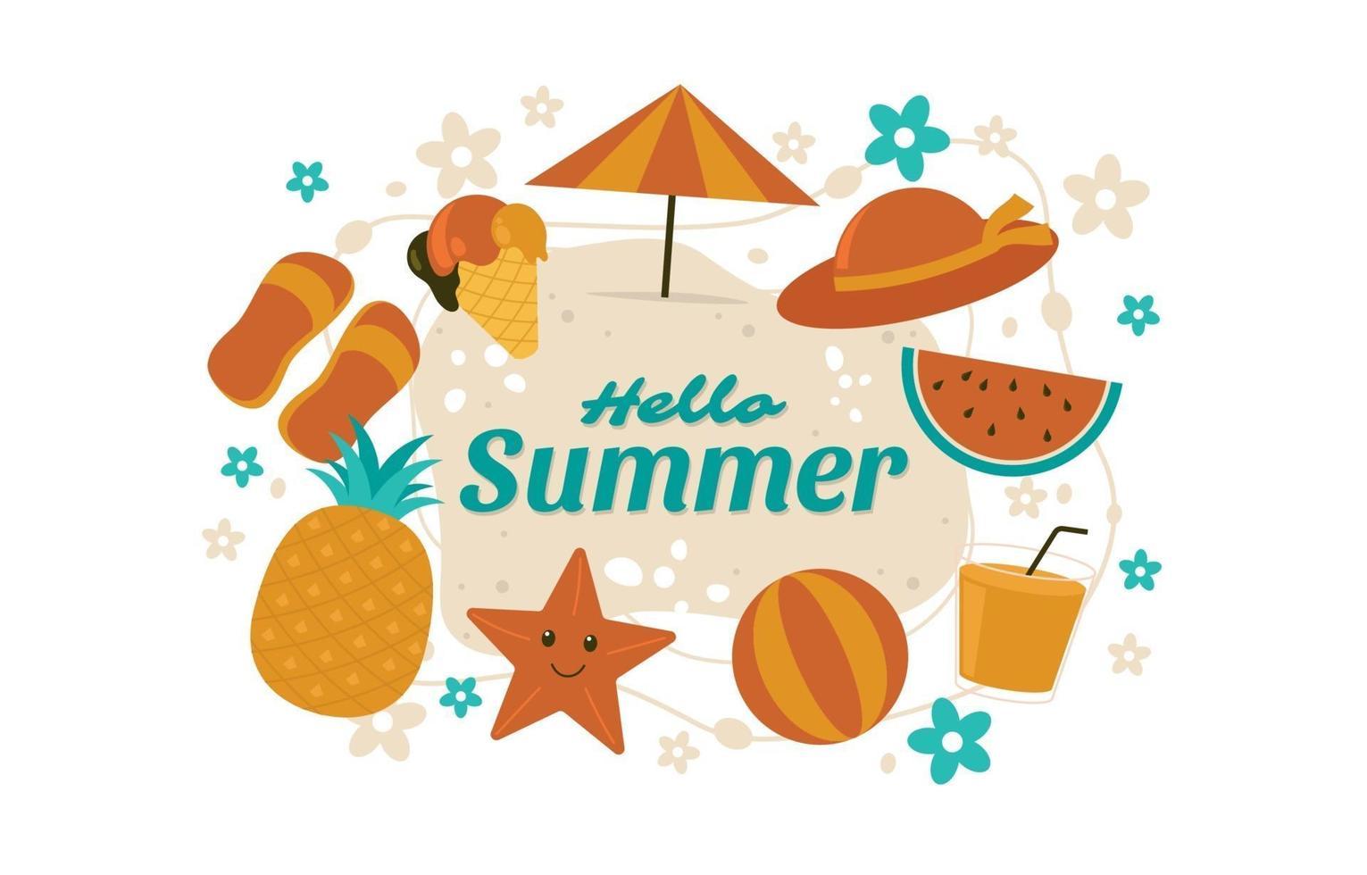fondo de elementos de verano vector