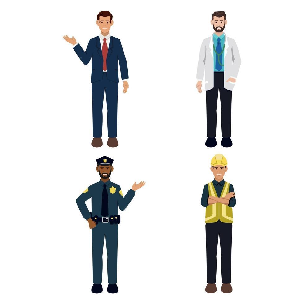 carácter de personas en diversas profesiones comerciales. vector
