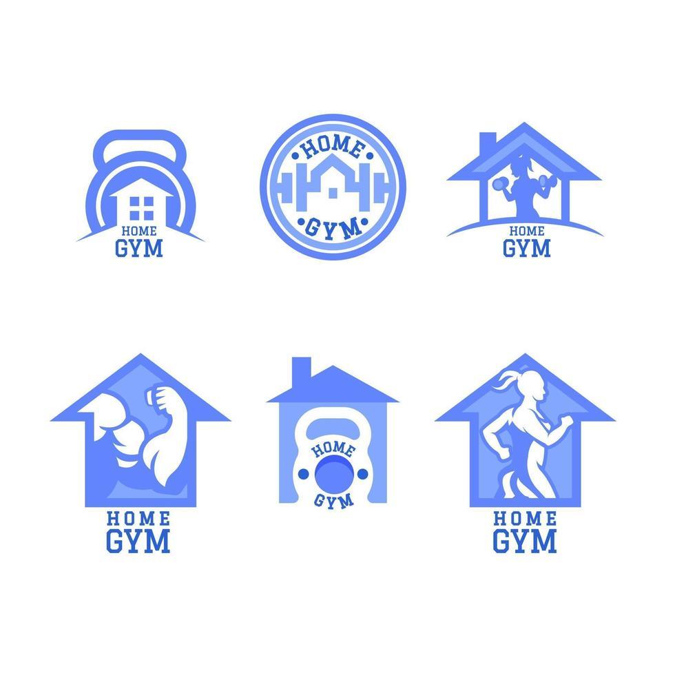 conjunto de logotipos de gimnasio en casa vector