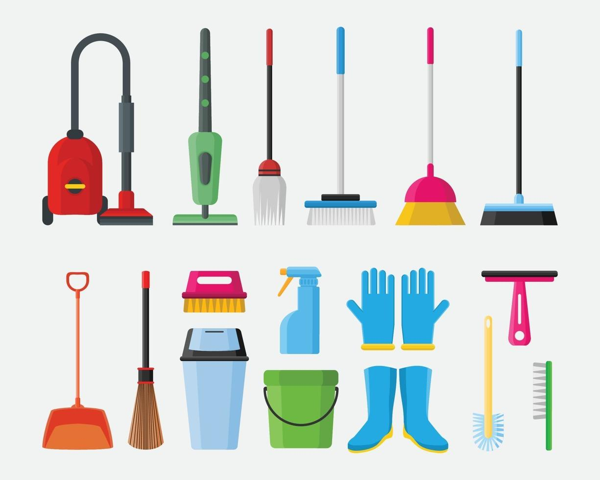 Cleaning service tools equipment object element vector illustration