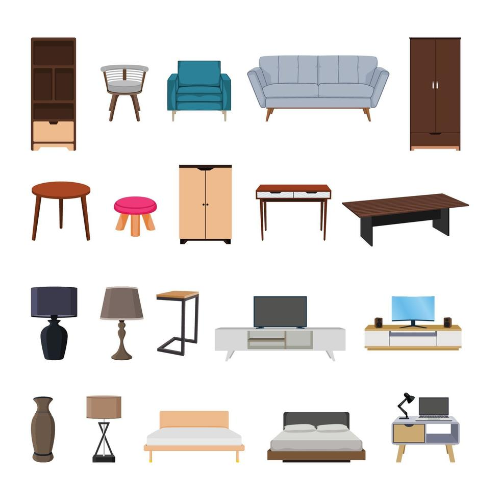 Furniture interior collection set design elements vector illustration