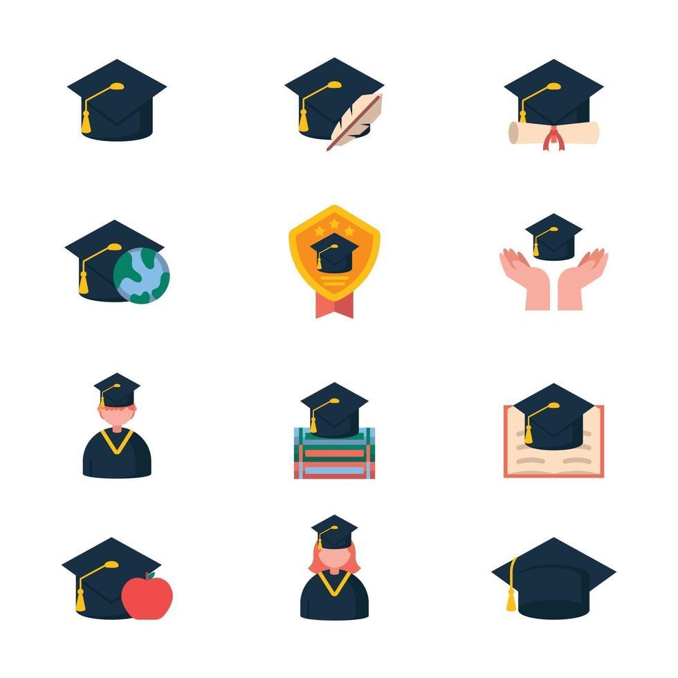 Graduation Hats in Various Settings vector