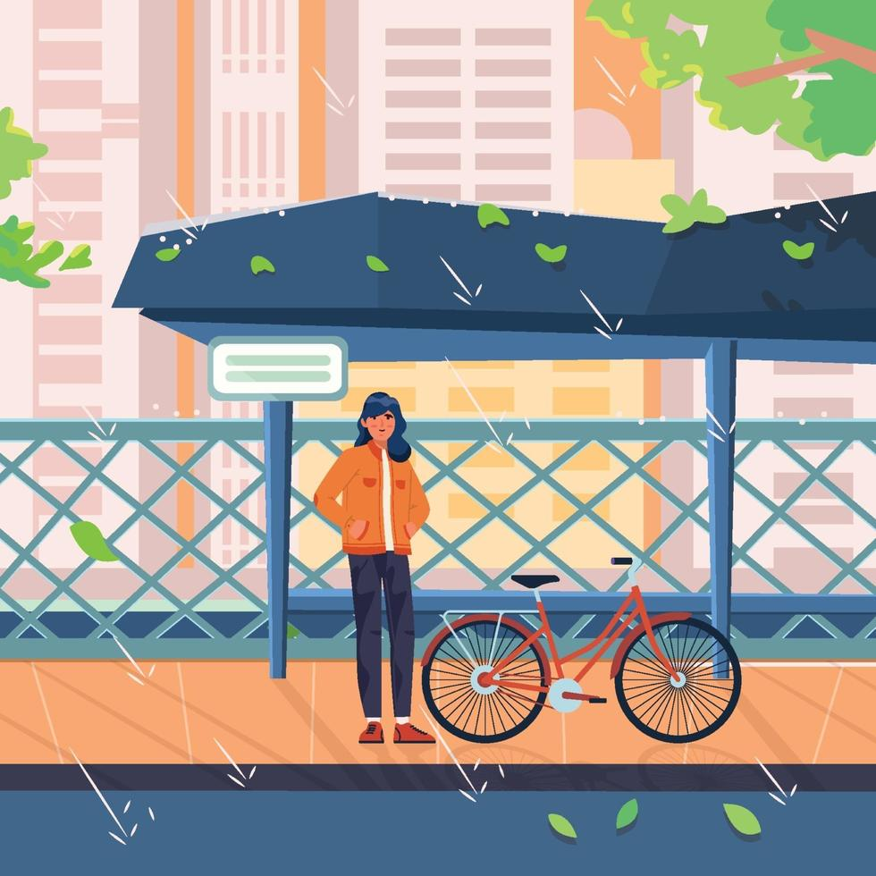 Woman With Bicycle Waiting On A Rainy Day vector