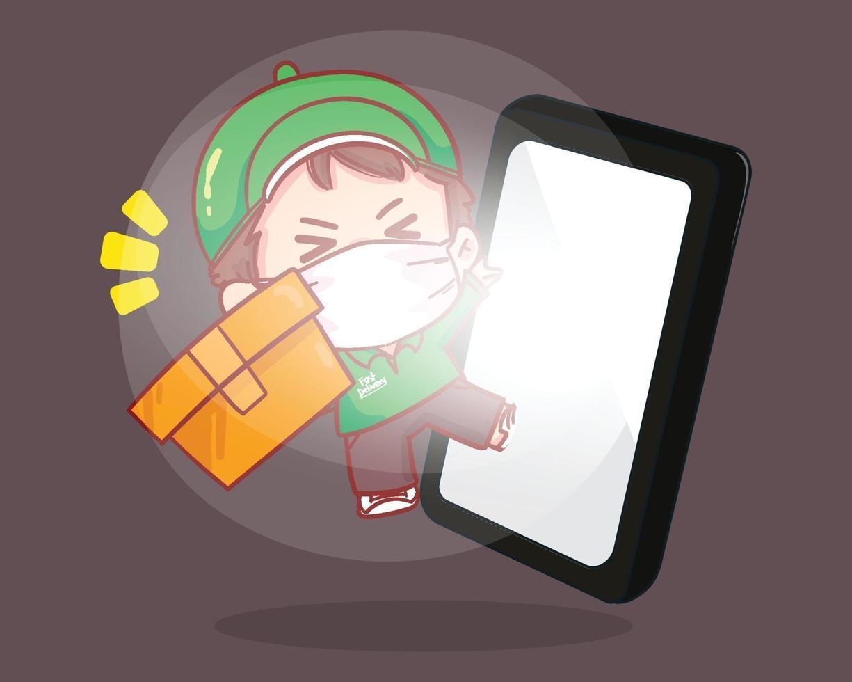Delivery man parcel handover to customer Online Delivery Service Smartphone with Mobile App logo cartoon art illustration vector