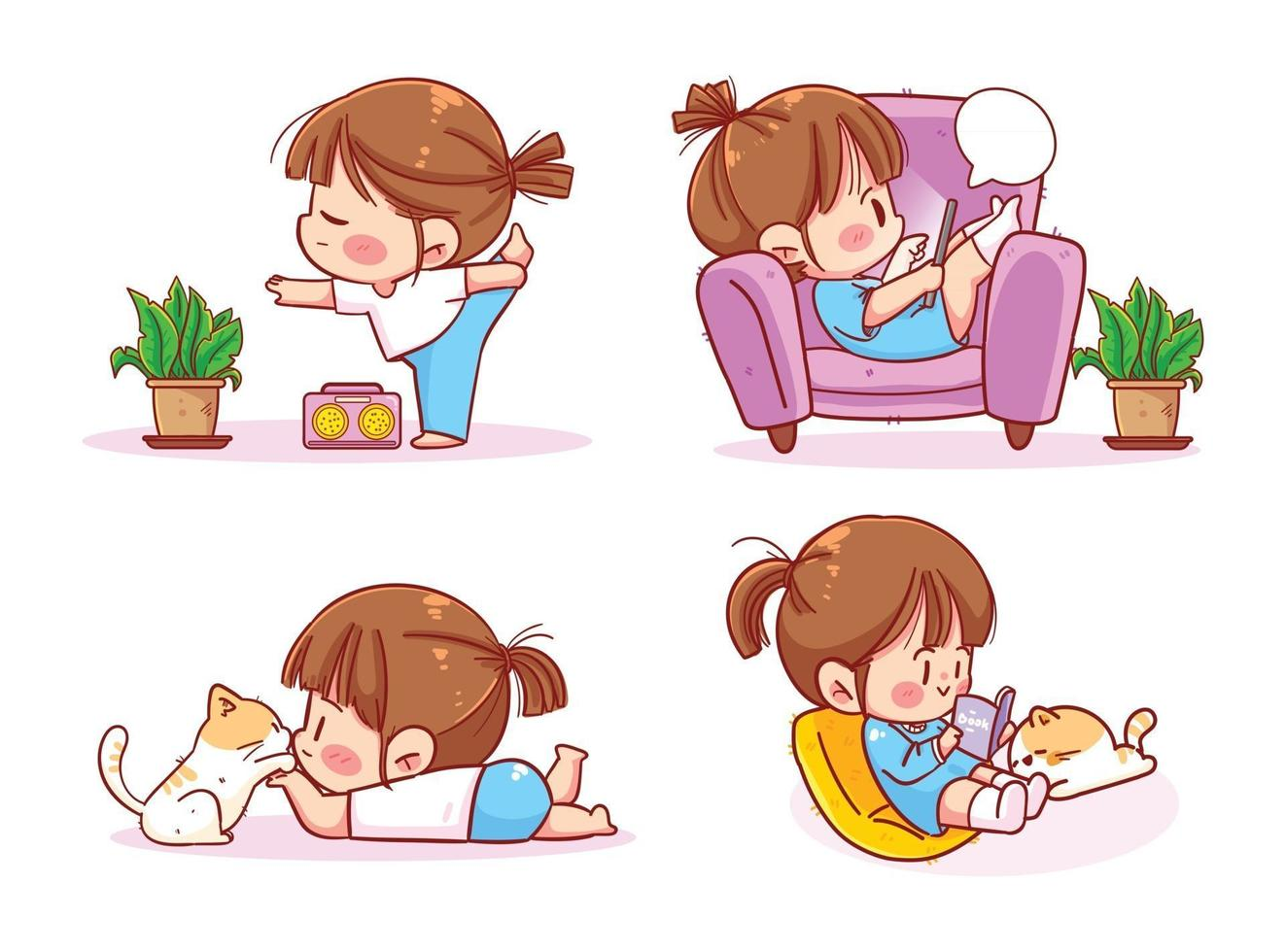 Cute Girl reading book, doing yoga, quarantine due to coronavirus home activities vector