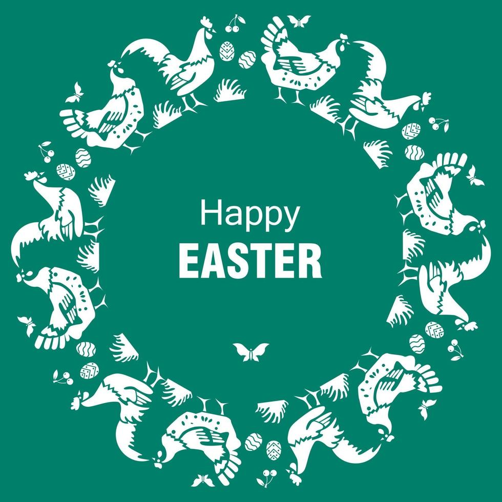 Happy Easter card with hens cocks eggs on green background vector
