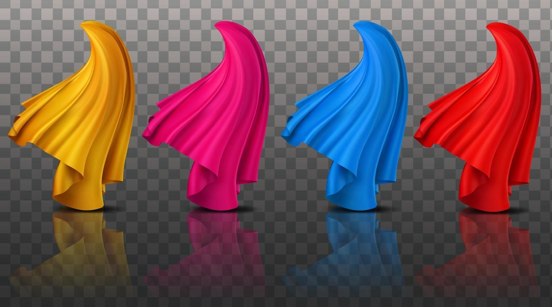 Collection of realistic illustration 3D abstract dynamic cloth fabrics vector