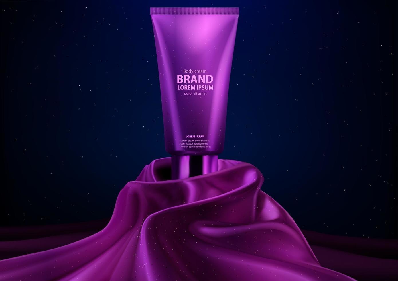 Purple cosmetic luxury realistic body cream display vector