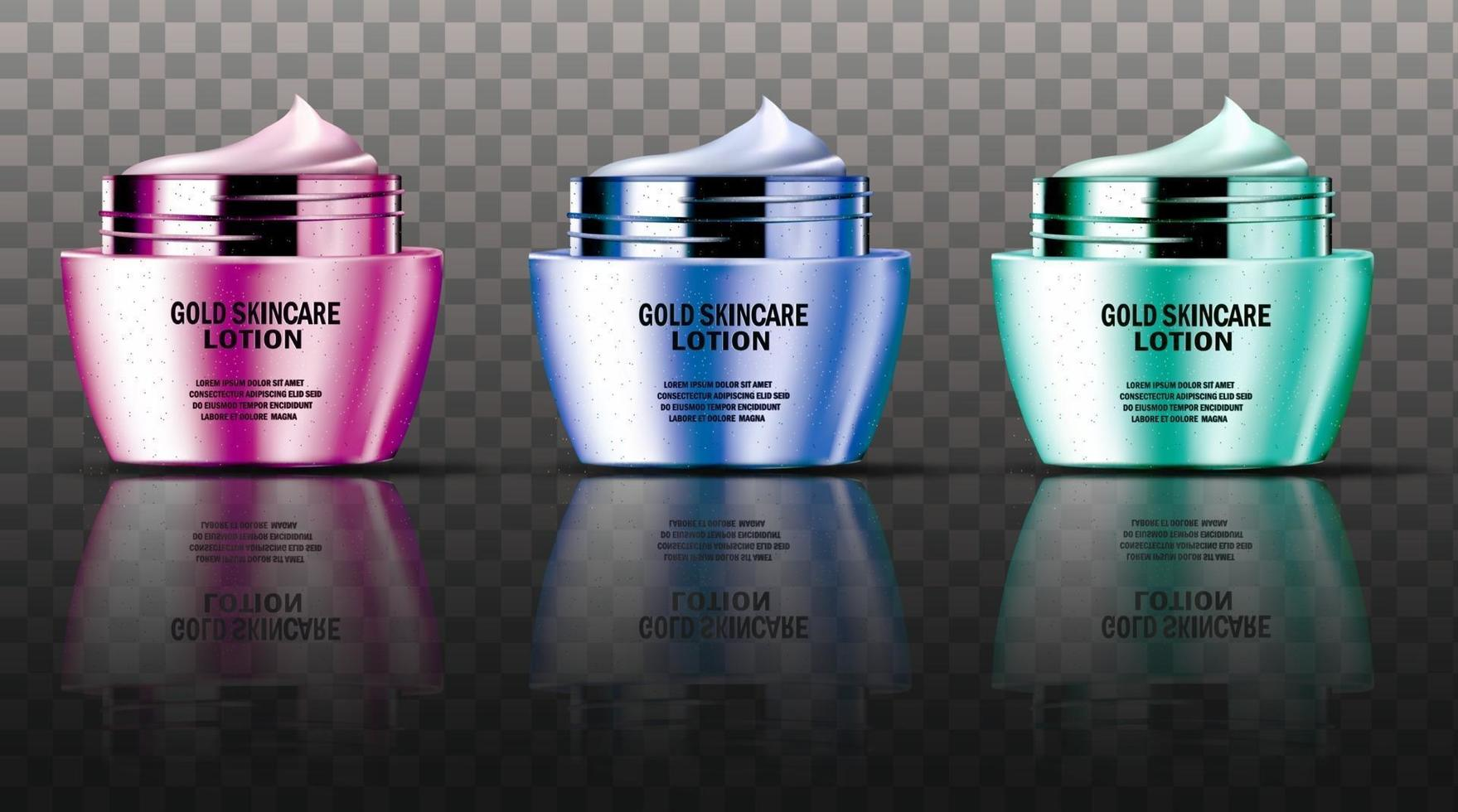 Collection of colorful luxury face cream containers mock up vector