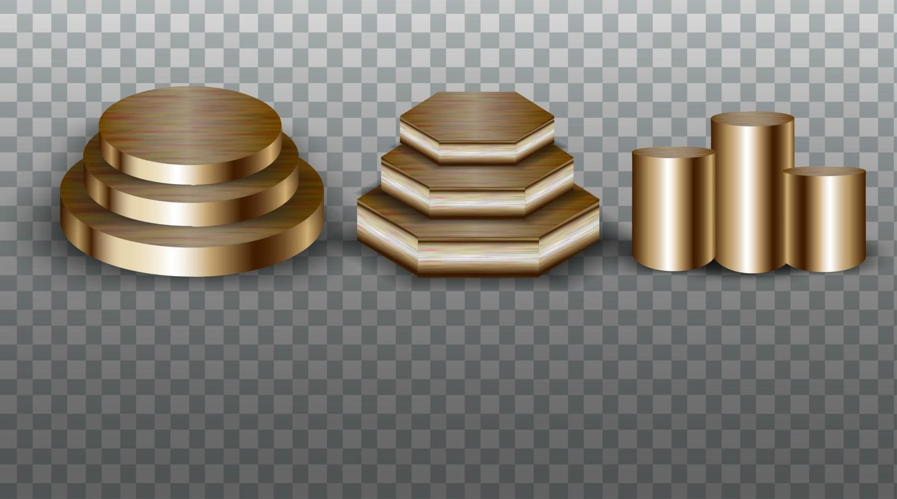 Collection of gold podiums vector