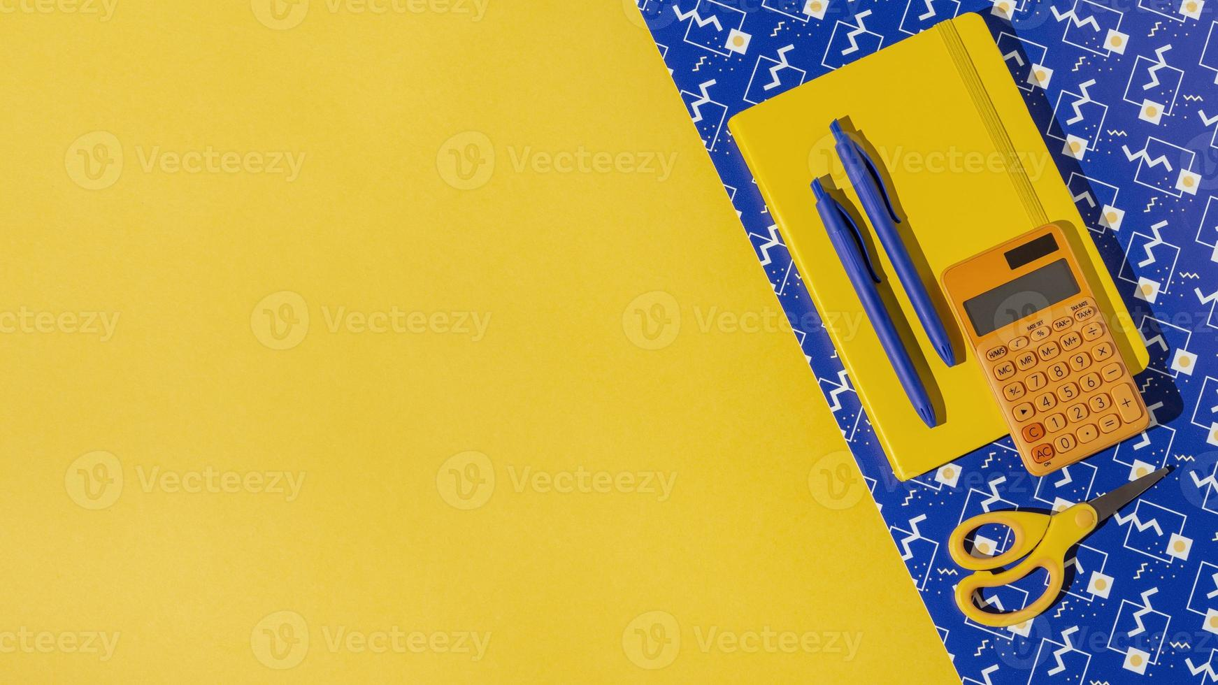 Top view school supplies on the table assortment photo