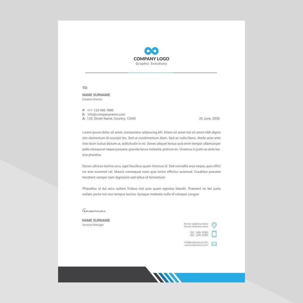 Elegant and minimalist style letterhead template design vector