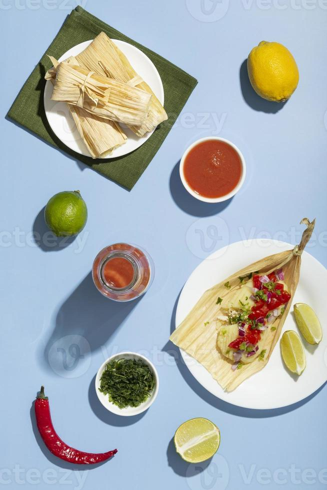 Flat lay assortment of tamales ingredients photo