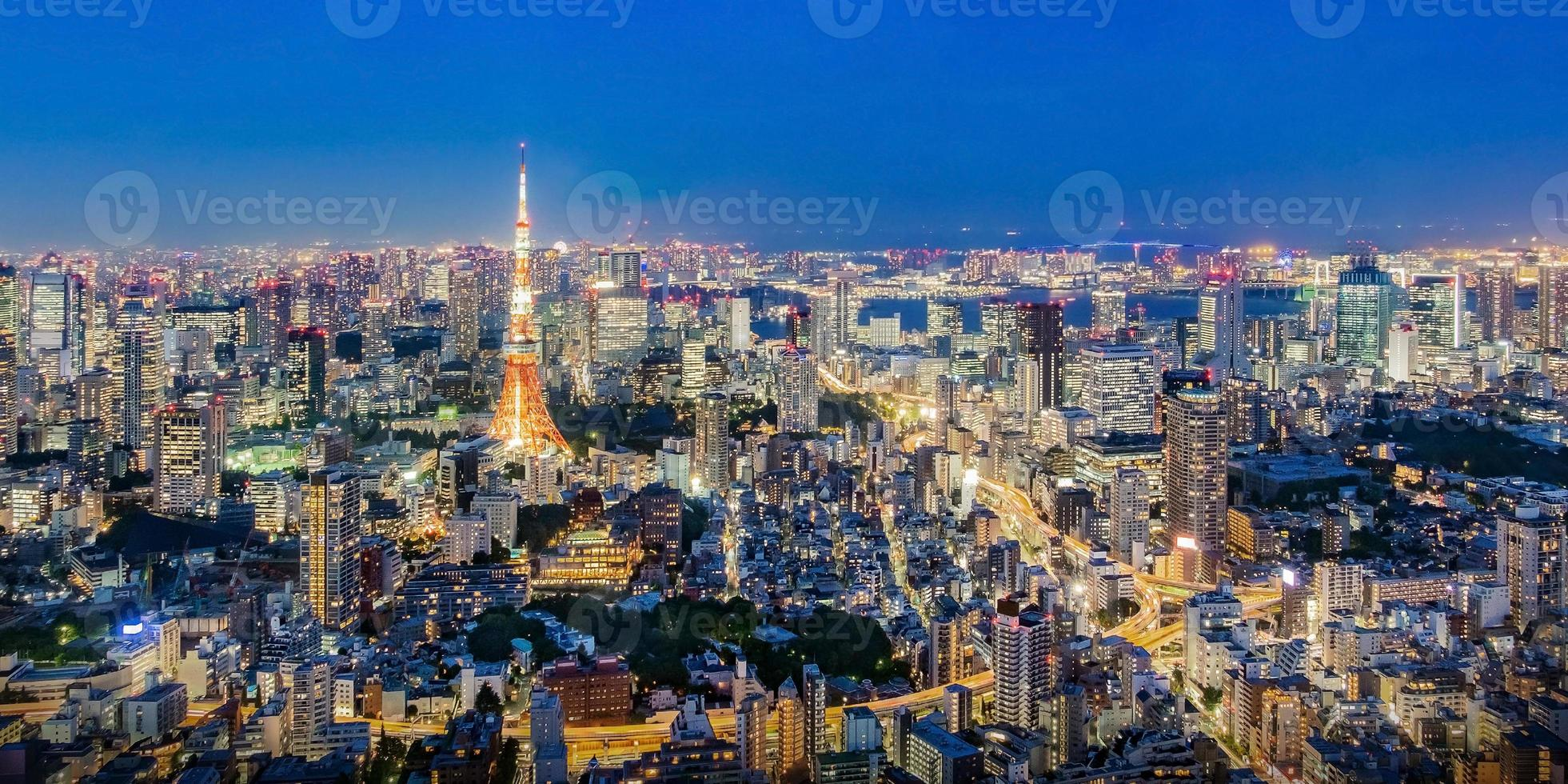 Cityscape of Tokyo skyline, panorama aerial skyscrapers view of office building and downtown in Tokyo in the evening. photo