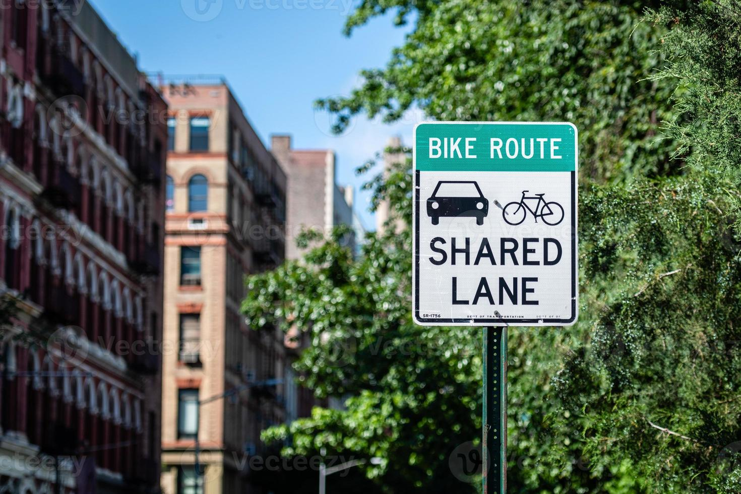 Share Lane Sign for Cyclists and Cars in Manhatan photo