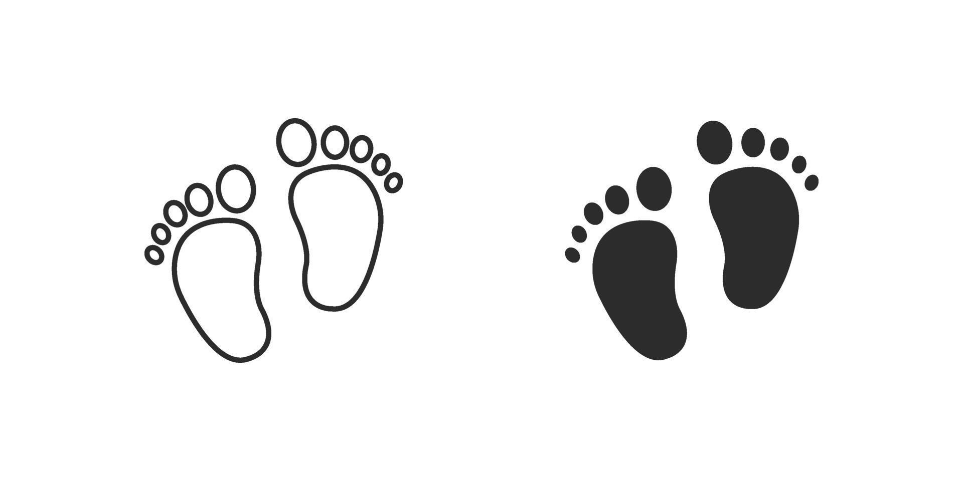 baby feet icon flat style isolated on white background vector